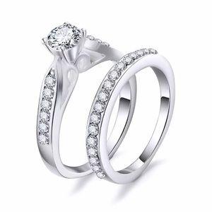 2pcs/Set Silver Tone Cubic Zirconia Wedding Rings